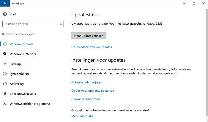 het updaten van windows